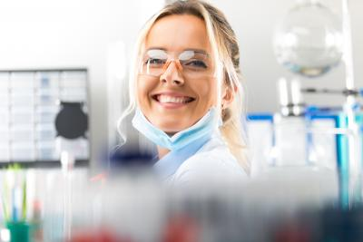 happy lab technician
